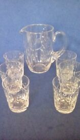 Lead Crystal glasses and water decanter