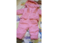 2 pcs girls pink snowsuit 6-9 months
