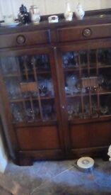Old glass fronted display cabinet
