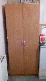 Wardrobe, light oak veneer, £20.