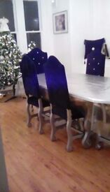 Silver oak extendable table & 6 crushed velvet chairs with dimonds