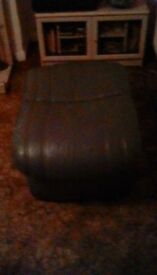 Green leather pouffe, with storage, £10