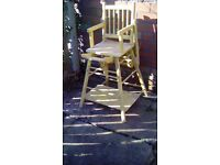 old antique kids wooden higchair 1930s also turns into table and chair