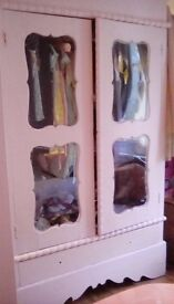FRENCH PINK DOUBLE DOOR WARDROBE WITH GLASS\FRENCH DRESSER