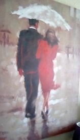 Canvas painting .couple walking in the rain size 120x90 cm lovely painting