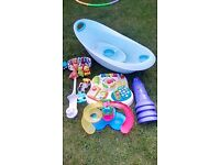 Mothercare baby bath and bowl, musical activity table,cot mobile and clothes