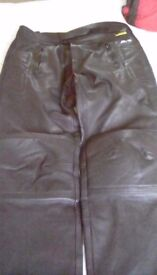 Leather bikers trousers