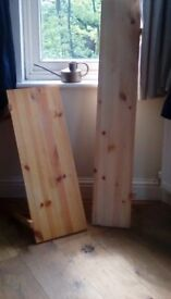 2 wooden shelves