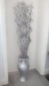 Large jardineire type vase with decorative twigs