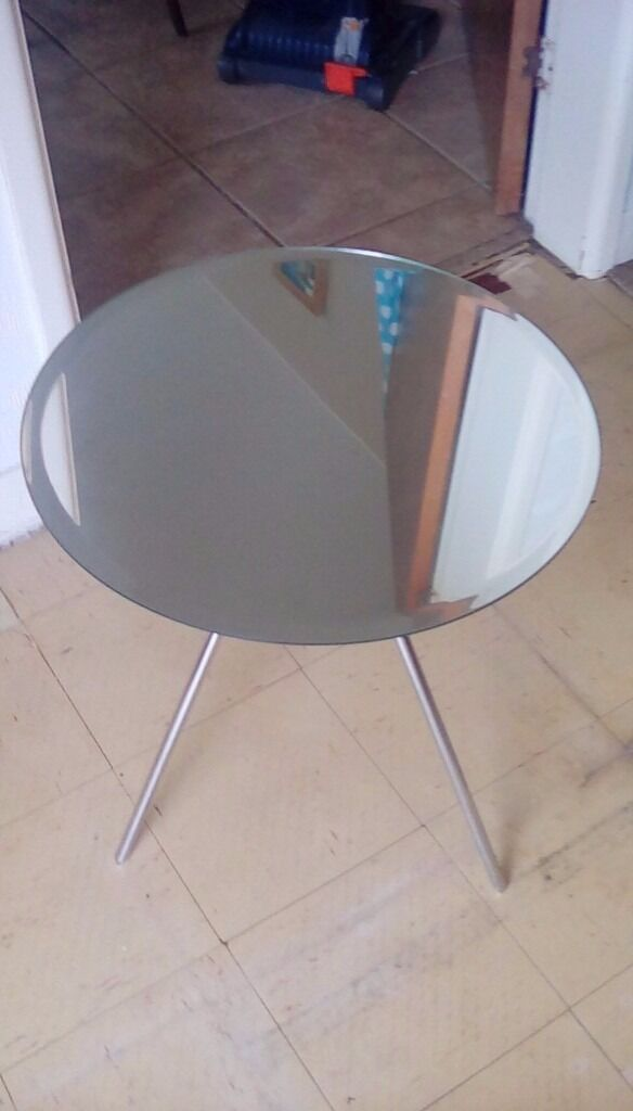 Habitat Round Mirror Tripod Side Table