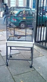 Large parrot/ bird cage with stand