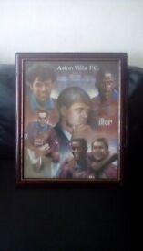 2 Aston Villa framed pictures signed 1 Aston Villa clock