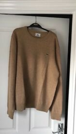 Lacoste sweater/jumper - size 4/medium - beige/light brown