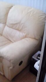 Cream leather 2 and 3 seater settees