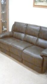 Leathaire 3 seater recliner settee