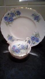 Royal vale china plate, creamer and sugar bowl; cornflower pattern. V.good condition.