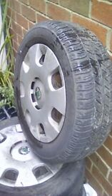 Skoda fabia wheels and tyres(handy for fitting winter tyres too)