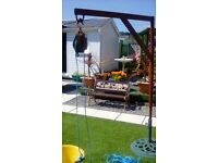 Scaffolding Hoist with Pulley, Bucket and Rope.
