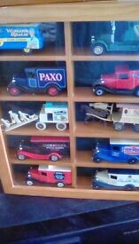 3 Box sets collectors cars in glass case.