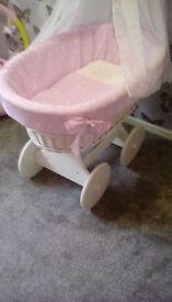 Moses basket on wheels with canopy 3 weeks old excellent condition