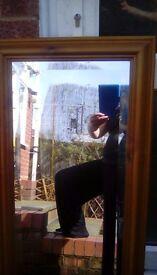Vintage bevelled glass wood framed large mirror