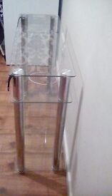 2x Clear Glass Tv/Computer Stands.