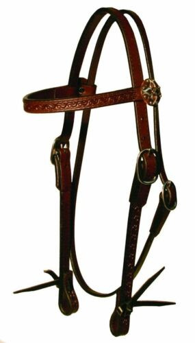 """Circle Y Browband Headstall Tooled Border 3/4"""" Leather Walnut #0100-6901 ~ NEW"""
