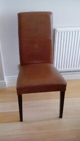 Set of 6 Next Faux Leather Brown Dining Chairs