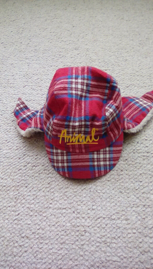 Red tartan Deer stalker style hat by Animal one size (toddler)