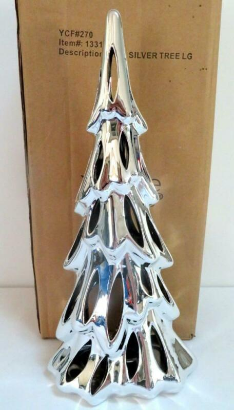 """Yankee Candle 13.5"""" Shimmering Woods Silver Ceramic Tree Tealight Candle Holder"""