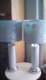 Table lamps turquoise and silver 70 cm tall