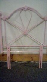pink antiga metal headboard set