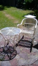 Wicker Round Glass Top Table and Chair in Cream