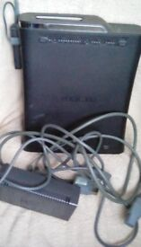 X box 360 black with leads.
