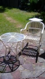 Wicker Round Glass Top Table & Matching Chair in Cream