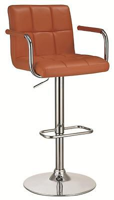 Orange and Chrome Adjustable Bar Stool Chair with Foot Rest by Coaster 121098