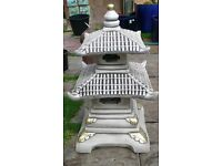 Two 2 Tier Pagoda Garden Ornament Reconstituted Stone Japanese Style 70cm high 40cm wide