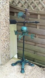 Green iron metal weather vane