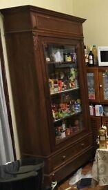 Continental glazed oak cabinet
