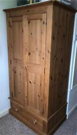 Solid Pine Double Wardrobe with Drawer