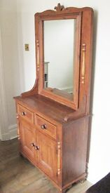 Beautiful Retro Waxed Wooden Dresser Hallstand Cabinet with Mirror