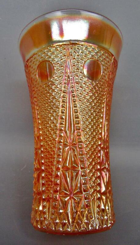 Foreign Carnival Glass from India BEADED SPEARS Marigold  Flared Tumbler B491