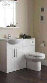 Bathroom vanity unit and toilet