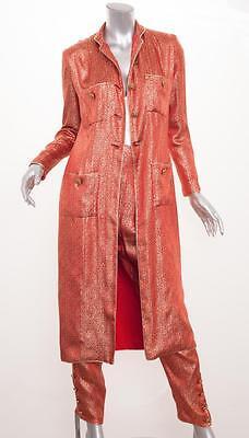Chanel Kontur Sammler Vintage Rot+Gold Seide Tunika + Hose KOSTÜM Xs
