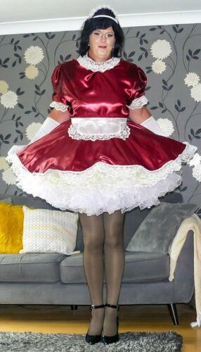 Stunning Hand Made Burgundy Sissy Maid Uniform with optional petticoats