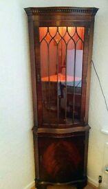 Reprodux Bevan Funnell Serpentine Corner Mahogany Cabinet 1970