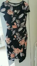 Floral Dress size 10 peplum (new)