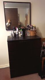 Dark wood chest with 4 drawers and mirror - IKEA