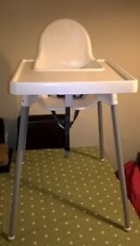 Antilop Highchairs from IKEA x 3, with tray and safety belt £5 each or £12 for all 3