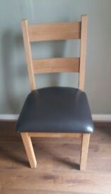 Oak Chair dark brown faux leather seat